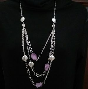 NWT paparazzi purple& silver necklace earring set